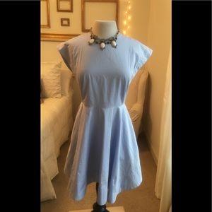 Tibi 50's Inspired Baby Blue Cotton Dress Sz 6